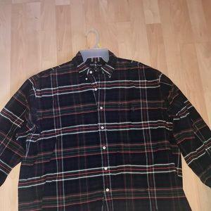 Men's heavy long sleeve plaid polo L big shirt